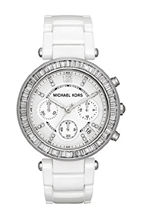 1e30a4181 Image Unavailable. Image not available for. Color: Michael Kors Parker  Women Watch Mk5848 White Ceramic ...
