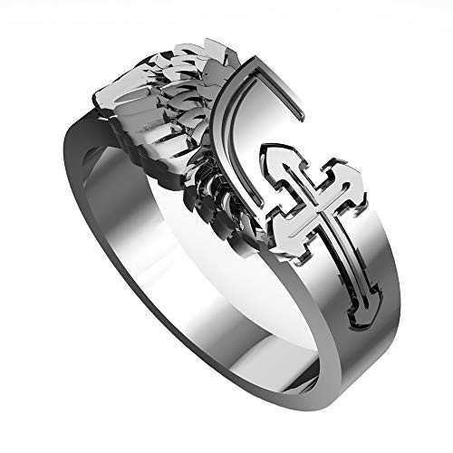 eejart Cross with Angel Wings Ring for Men, The Premium Fashion Forward 321L Stainless Steel Mens Ring Biker Gothic Jewelry
