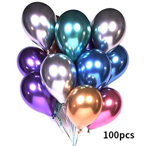 TONGN Metallic Balloons Multicolor - Party Balloons 100 Pcs 12inch Latex Helium Shiny Metallic Balloons Decoration for Birthday Wedding Baby Shower Christmas Kids' Party (Latex Balloons Christmas)