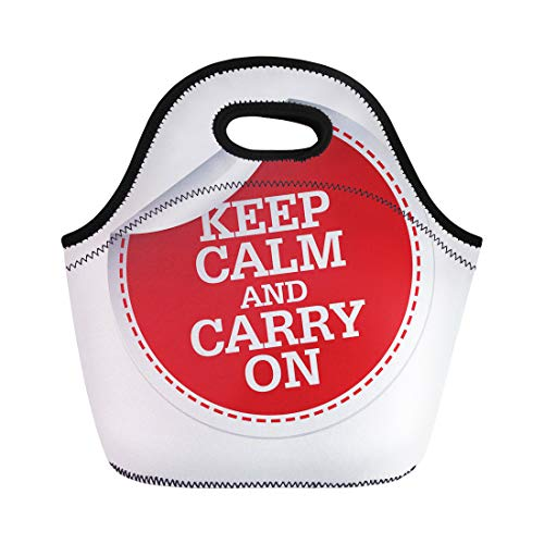 (Semtomn Lunch Tote Bag Badge Keep Calm and Carry on Red Choice Choose Reusable Neoprene Insulated Thermal Outdoor Picnic Lunchbox for Men Women)