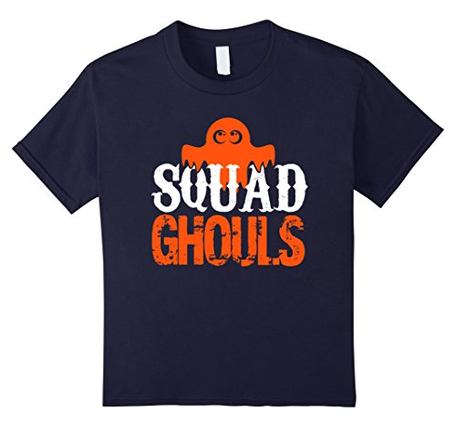 Kids Funny Squad Ghouls Ghost T-Shirt for Halloween 12 Navy (Play On Words Halloween Costumes For Groups)