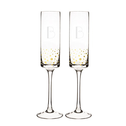 Cathy's Concepts GD3668-B Personalized Champagne Flutes, Letter B, Clear/Gold