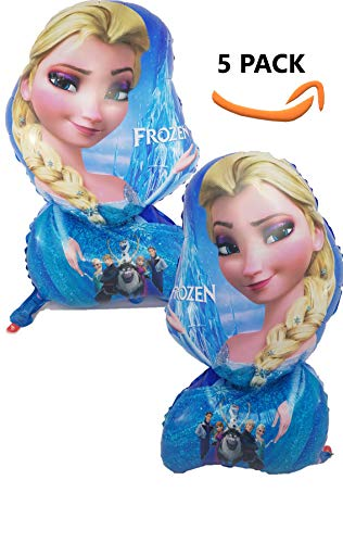 Frozen Elsa Balloon Birthday Party Theme (5 Pack), Bright Color Mylar 25 inch Helium/Air Balloons | Party/Birthday/Carnival/Festival/Graduation/Decoration]()