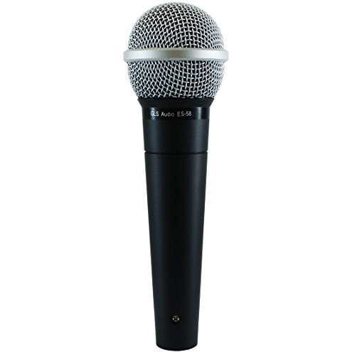 Microphone Dynamic Loz - GLS Audio Vocal Microphone ES-58 & Mic Clip - Professional Series ES58 Dynamic Cardioid Mike Unidirectional (No On/Off Switch)