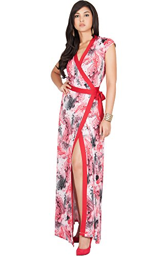 KOH KOH Plus Size Womens Long Cap Sleeve Sexy Wrap Floral Print Spring Summer Casual Vintage Beach Evening Party Floor Length Sundresses Gown Gowns Maxi Dress Dresses, Red 2XL 18-20