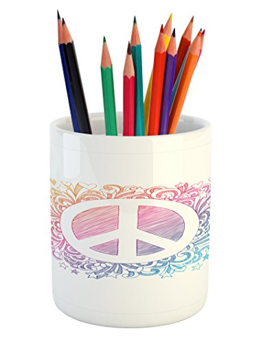 Lunarable Groovy Pencil Pen Holder, Hand Drawn Style Peace Symbol with Doodle Swirls Hearts and Stars Burst Backdrop, Printed Ceramic Pencil Pen Holder for Desk Office Accessory, Multicolor (Swirls Doodle)
