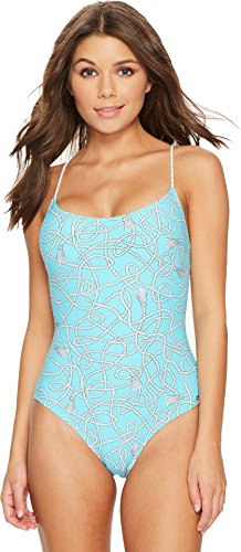 MICHAEL Michael Kors Women's Twisted Rope Cross-Back Lace-Up One-Piece Swimsuit w/Removable Soft Cups Turquoise (Soft Cup One Piece Swimsuit)