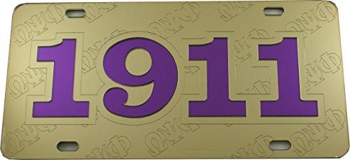 Omega License Plate Frame - Cultural Exchange Omega Psi Phi 1911 Ghost Back Letters Car Tag License Plate [Gold - Car/Truck]
