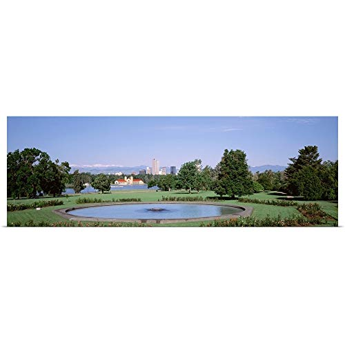 GREATBIGCANVAS Poster Print Entitled Formal Garden in City Park with City and Mount Evans in Background, Denver, Colorado by 48