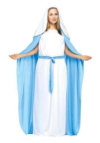 [Fun World Costumes Women's Adult Mary Costume, White/Blue, Plus Size] (Mary Adult Womens Plus Size Costumes)