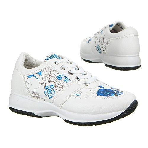 Ital-Design - zapatilla baja Mujer Blanco - Weiß Blau