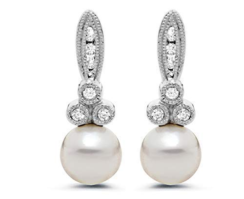 6mm Akoya Pearl and Diamond Drop Earrings in 14K White Gold for -