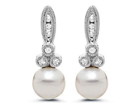 6mm Akoya Pearl and Diamond Drop Earrings in 14K White Gold for Women