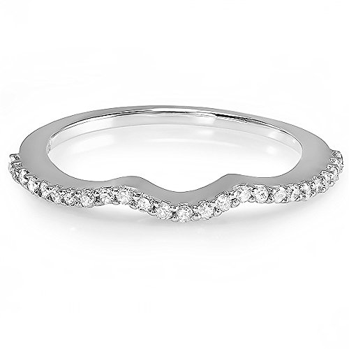 0.25 Carat (ctw) 14k White Gold Round Diamond Ladies Anniversary Wedding Band Guard Ring 1/4 CT (Size 5) by DazzlingRock Collection