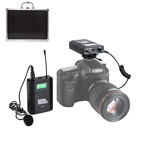 Dazzne Pixel 6 Channels UHF Wireless Lavalier Microphone System Applicable for DSLR Cameras, Canon, Nikon, Sony & Camcorders (Need 3.5mm Interface (MK-7) ()