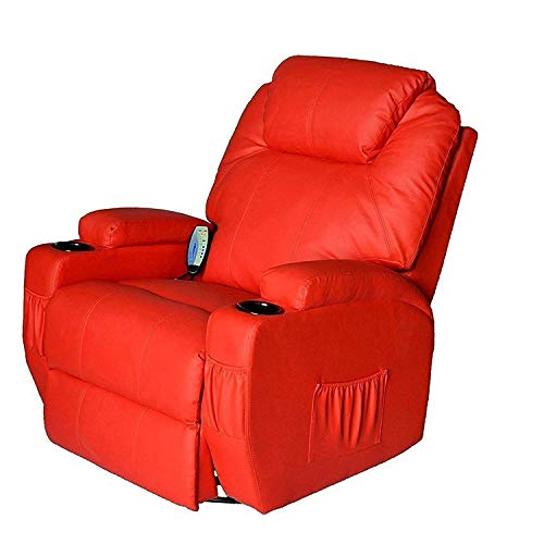 (Tenive Deluxe Pu Leather 360 Degree Swivel Rocker Massage Recliner Sofa Chairs Lounge 8 Vibrating Nodes -Executive Heated w/Control Back- Red)