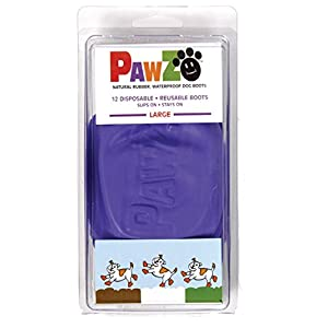 """Pawz Purple Water-Proof Dog Boots, Large, Paws 3"""" to 4""""(12 Disposable-reusable Boots) 12"""