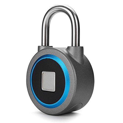 Fingerprint Padlock, Bluetooth Connection Metal Waterproof, Suitable for House Door, Suitcase, Backpack, Gym, Bike, Office, APP is Suitable for Android/IOS, Support USB charging (Blue) by WGCC
