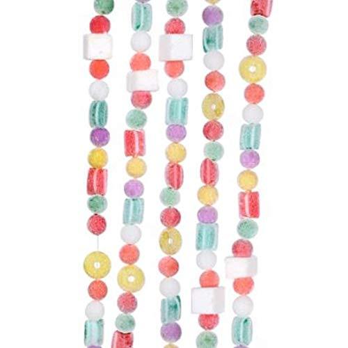 Kurt Adler 9' Plastic White Flocked Candy Garland ()