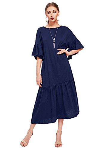 MakeMeChic Women's Loose Shift Plain Ruffle Hem Bell Sleeve Dress Navy - Dress Long Shift