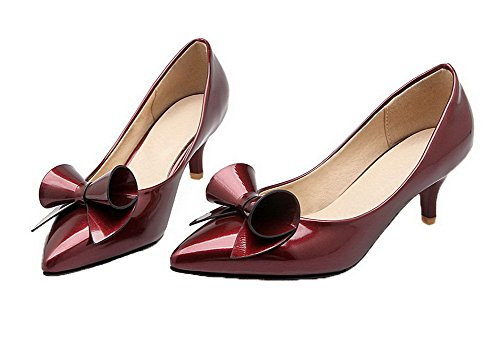 VogueZone009 Women's Pull-On Pointed Closed Toe Kitten-Heels PU Solid Pumps-Shoes Claret ZcFl8MQ77