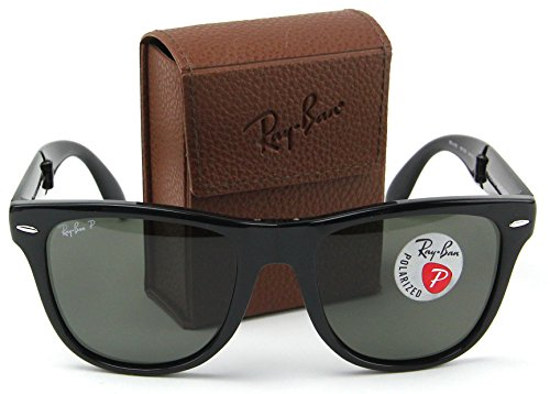 Ray-Ban RB4105 Folding Wayfarer Sunglasses Polarized (Black Frame / Polarized Green Lens 601/58, - Ban Folding Case Ray