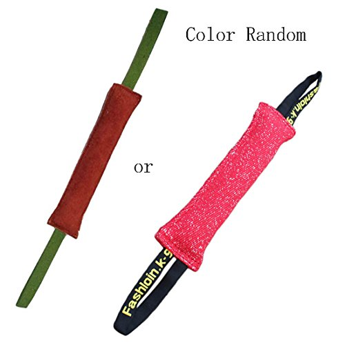 Durable Leather Pet Dog Training Bite Tug of War Toy, Interactive Play Fun Toy with 2 Handles (M: 11.8 In) (Ring Toy Leather)