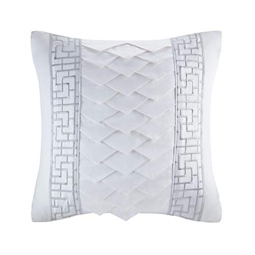 Natori Silk/Cotton Embroidery Square Pillow 18x18/Grey