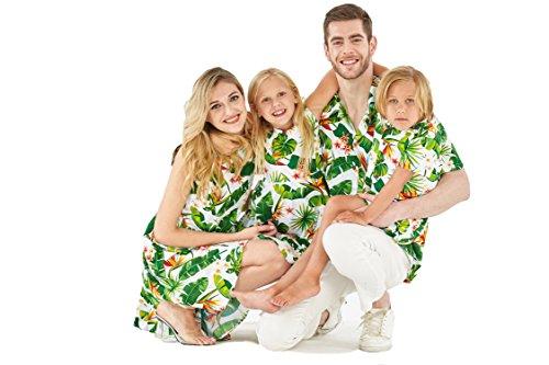 e0e2c1ad Couple Matching Hawaiian Luau Cruise Outfit Shirt Vintage Dress Bird of Paradise  White Men M Women