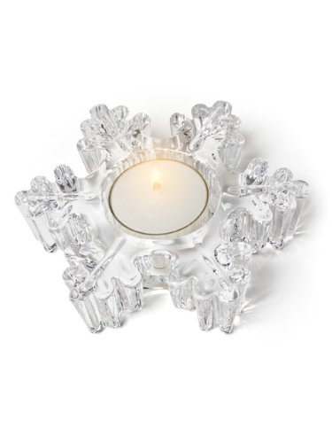 Thick Clear Glass Snowflake Tea Light Candle Holder