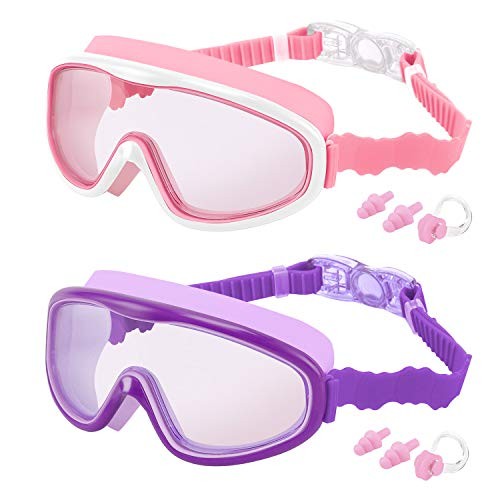 TOCOOL Kids Swim Goggles, 2 Pack Swimming Goggles Swim Glasses No Leaking Anti Fog UV Protection Clear Wide Vision Swimming Glasses for Youth Kids Child Teens from 3-16 Yeas Old (Purple/Pink)