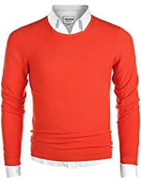 Men's Casual Regular Fit Pullover Round-Neck Sweater Cotton Knitwear