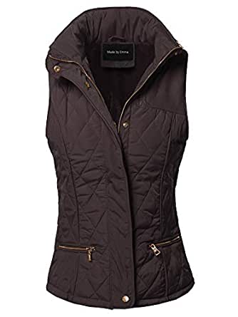 Made by Emma Fitted Premium Solid Basic Quilted Warm Vest Brown S