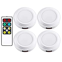Dewenwils Wireless LED Puck Light with Remote Control (Timer+ Dimmer), 3000K Warm White Stick-on Tap lights Battery Operated, Pack of 4