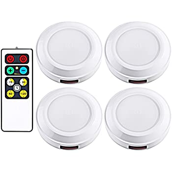 Dewenwils wireless led puck light with remote control timer dimmer dewenwils wireless led puck light with remote control timer dimmer 3000k warm white aloadofball Choice Image