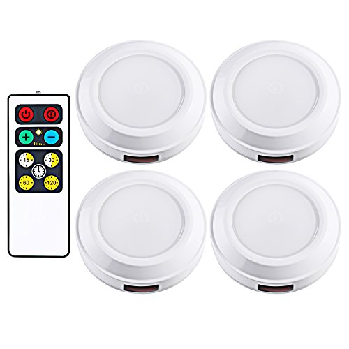 DEWENWILS LED Wireless Puck Light Remote Control (Timer+ Dimmer), Battery Operated Nightlight, Stick-on Anywhere, for Under Cabinet, Counter, Pantry, Warm White, 4 Pack, Round, -