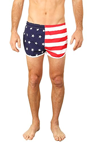 UZZI USA Flag Men's Basic Running Shorts Swimwear Trunks USA - Running Flag American Shorts