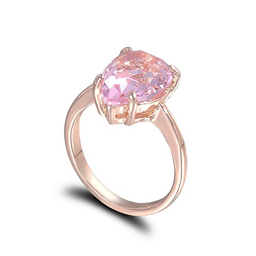 Crookston Womens Fashion Rose Gold Pear Cut Ring Eternity Pink Sapphire Waterdrop Jewelry | Model RNG - 2085 | 10