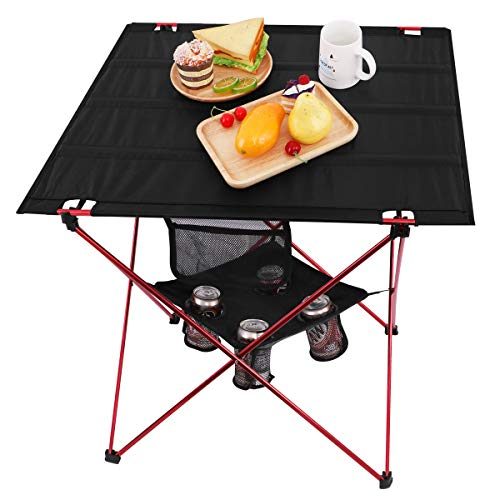 (MOVTOTOP Folding Camp Table, 2 Tier Oversize Portable Camping Table with 4 Cup Holders and Carrying Bags for Indoor and Outdoor Picnic, Tailgating, BBQ, Beach, Hiking, Travel, Fishing Fishing)