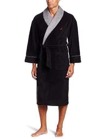 Nautica Men's Fleece Plush Solid Robe, True Black, One Size