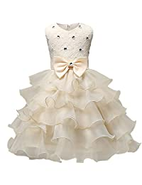 Mazla Flower Girl Ruffles Dress Party Lace Wedding Elegant Special Occasion Dresses 0-7 Years