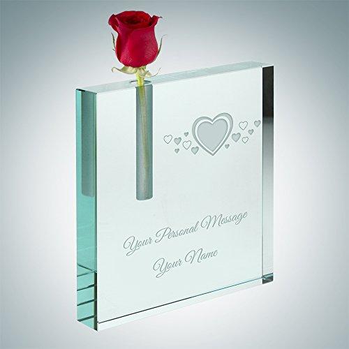 Jade Glass Square Bud Vase (Hearts) (Crystal Vase Personalized)