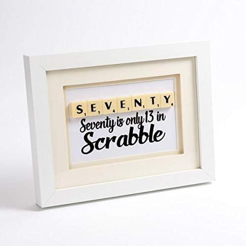 70 Scrabble art. 70º cumpleaños Póster con Marco: Amazon.es: Hogar