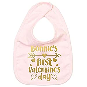 FunkyShirt First Valentines Day Personalised Baby Bibs for Toddlers Custom Boys Girls Baby Stuff Gifts for Her Gifts for…