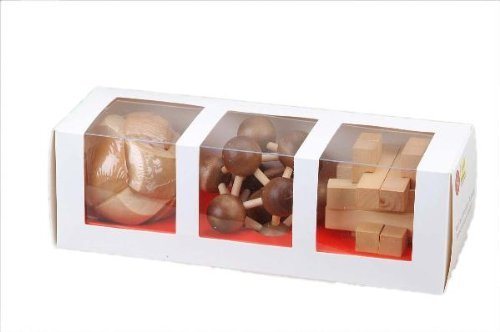 3 of Classic Jigsaw 3D Assorted Hand-Crafted Wooden Puzzles: Soccer Ball, Molecule, Maple Cross, Brain Teaser, Gift Boxed by CHH