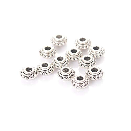 4MM Antique Silver Color Plating Tibet Style Metal Cast Spacer Beads for DIY Jewelry Making Accessories - (Color: Silver) ()
