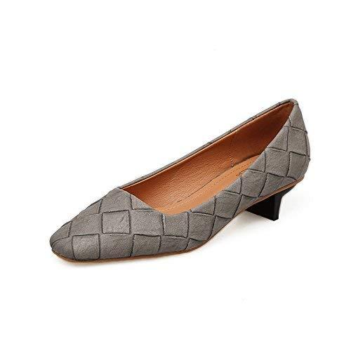 Willsego Low mit Einzelschuhe weiblich Leder Slim & Light Light Light to Head High Heels Schuhe One Foot Step 4 Schuhe Mädchen Schuhe, 37, Schwarz 90929f