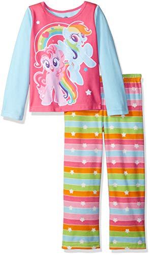 (My Little Pony Girls' Big Magical Friends 2-Piece Fleece Pajama Set, Rainbow, 8)