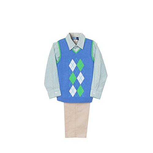 (Good Lad 4/7 Boys Three Piece Blue Argyle Sweater Vest and Pant Set )