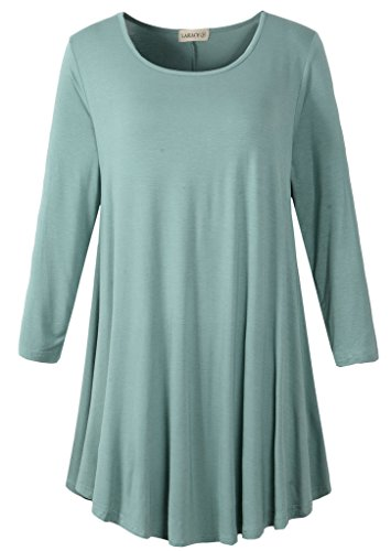 (LARACE Women 3/4 Sleeve Tunic Top Loose Fit Flare T-Shirt(L, Grayish Green) )